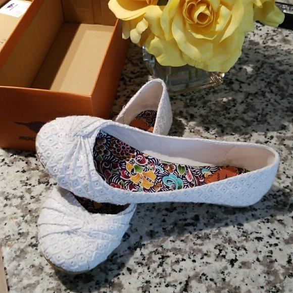 Shoes | Rocket Dog White Lace Flats